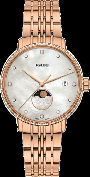 Damenuhr Rado Coupole Classic Mondphase Quarz mit Diamanten, silberfarbenem Zifferblatt und Edelstahlarmband