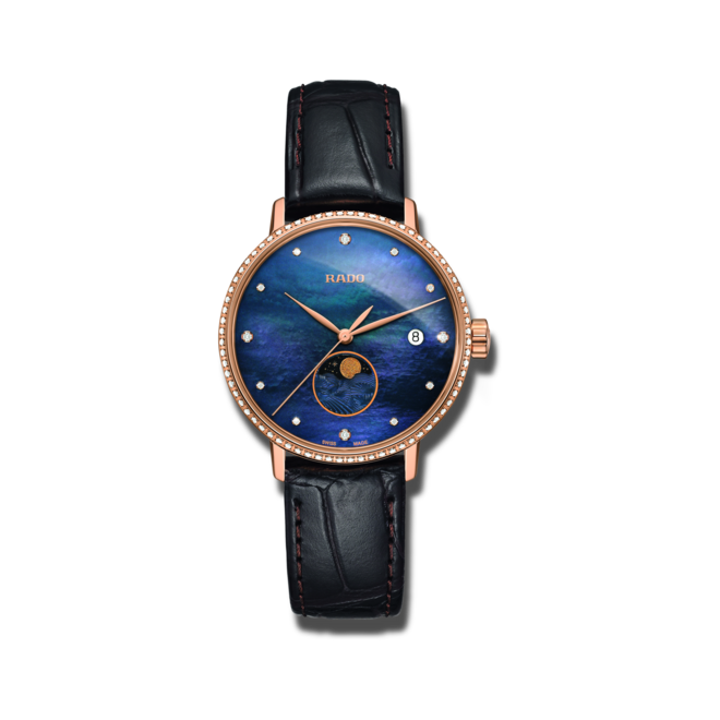Damenuhr Rado Coupole Classic Mondphase Quarz mit Diamanten, blauem Zifferblatt und Armband aus Kalbsleder mit Krokodilprägung bei Brogle