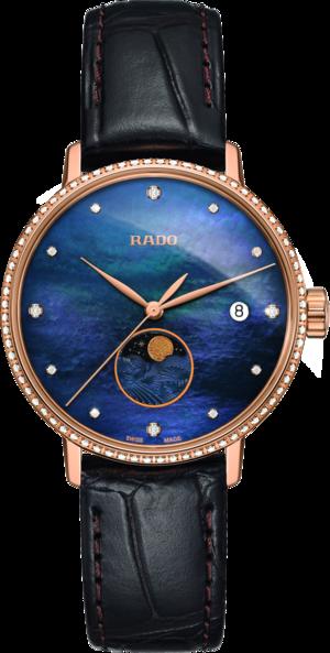 Damenuhr Rado Coupole Classic Mondphase Quarz mit Diamanten, blauem Zifferblatt und Armband aus Kalbsleder mit Krokodilprägung