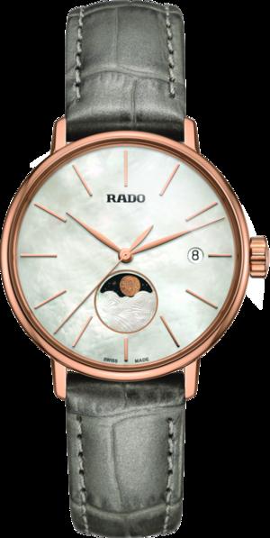 Damenuhr Rado Coupole Classic Mondphase Quarz mit perlmuttfarbenem Zifferblatt und Armband aus Kalbsleder mit Krokodilprägung