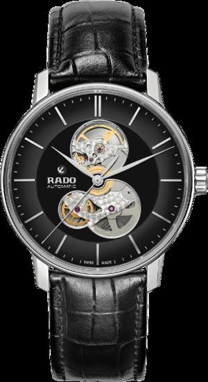 Herrenuhr Rado Coupole Classic Open Heart Automatic mit schwarzem Zifferblatt und Edelstahlarmband