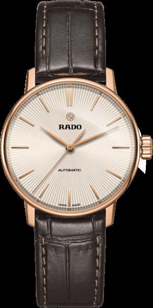 Damenuhr Rado Coupole Classic S Automatik mit champagnerfarbenem Zifferblatt und Armband aus Kalbsleder mit Krokodilprägung