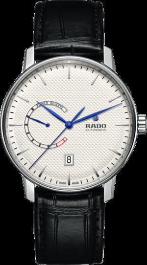 Herrenuhr Rado Coupole Classic XL Auto Power Reserve mit weißem Zifferblatt und Armband aus Kalbsleder mit Krokodilprägung