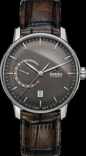 Herrenuhr Rado Coupole Classic XL Auto Power Reserve mit braunem Zifferblatt und Armband aus Kalbsleder mit Krokodilprägung