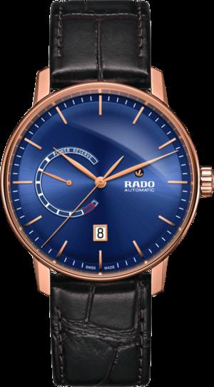 Herrenuhr Rado Coupole Classic XL Auto Power Reserve mit blauem Zifferblatt und Armband aus Kalbsleder mit Krokodilprägung