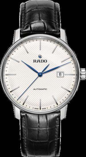Herrenuhr Rado Coupole Classic XL Automatik mit silberfarbenem Zifferblatt und Armband aus Kalbsleder mit Krokodilprägung