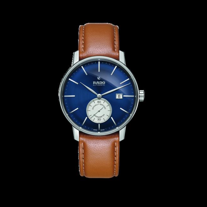 Herrenuhr Rado Coupole Classic XL Petite Seconde COSC mit blauem Zifferblatt und Kalbsleder-Armband bei Brogle