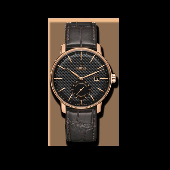 Herrenuhr Rado Coupole Classic XL Petite Seconde COSC mit schwarzem Zifferblatt und Armband aus Kalbsleder mit Krokodilprägung bei Brogle