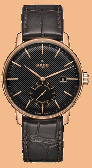 Herrenuhr Rado Coupole Classic XL Petite Seconde COSC mit schwarzem Zifferblatt und Armband aus Kalbsleder mit Krokodilprägung