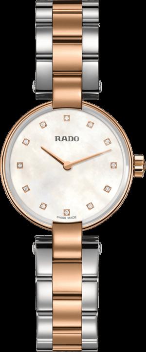 Damenuhr Rado Coupole Diamonds S Quarz mit Diamanten, perlmuttfarbenem Zifferblatt und Edelstahlarmband
