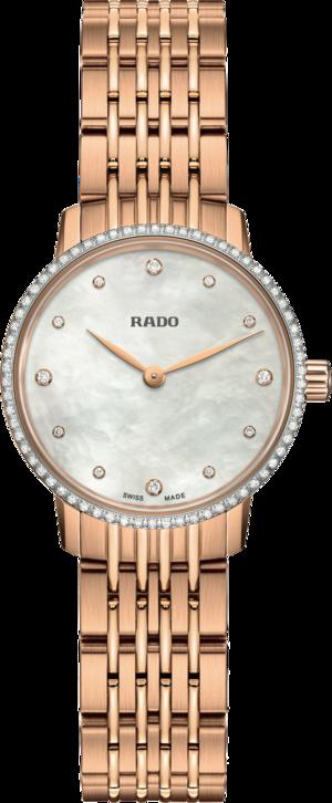 Damenuhr Rado Coupole Quarz 27mm mit Diamanten, perlmuttfarbenem Zifferblatt und Edelstahlarmband