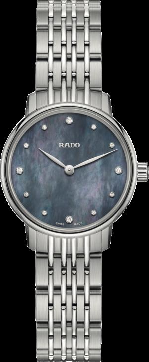 Damenuhr Rado Coupole Quarz 27mm mit Diamanten, blauem Zifferblatt und Edelstahlarmband