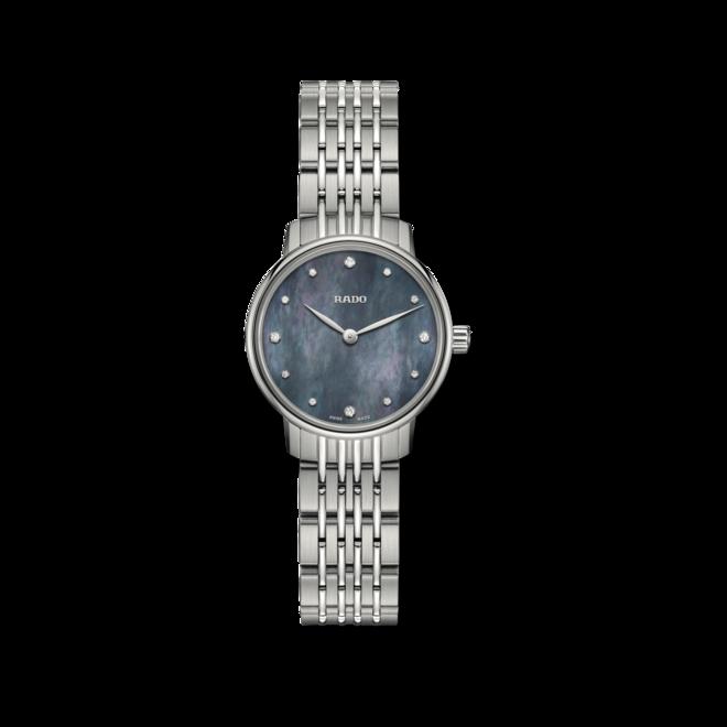 Damenuhr Rado Coupole Quarz 27mm mit Diamanten, blauem Zifferblatt und Edelstahlarmband bei Brogle
