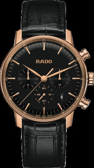 Herrenuhr Rado Coupole Quarz 42mm mit schwarzem Zifferblatt und Armband aus Kalbsleder mit Krokodilprägung