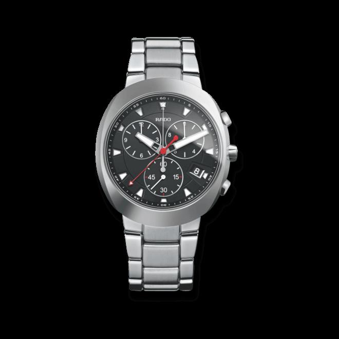 Herrenuhr Rado D-Star Chronograph Quarz mit schwarzem Zifferblatt und Edelstahlarmband