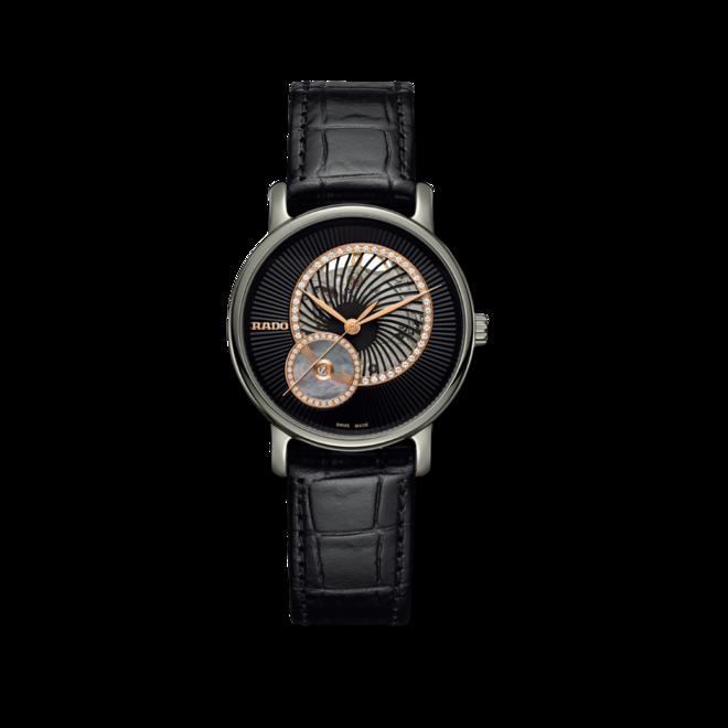 Damenuhr Rado DiaMaster Automatik 35mm mit Diamanten, schwarzem Zifferblatt und Armband aus Kalbsleder mit Krokodilprägung bei Brogle
