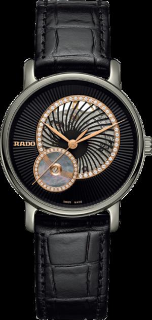 Damenuhr Rado DiaMaster Automatik 35mm mit Diamanten, schwarzem Zifferblatt und Armband aus Kalbsleder mit Krokodilprägung