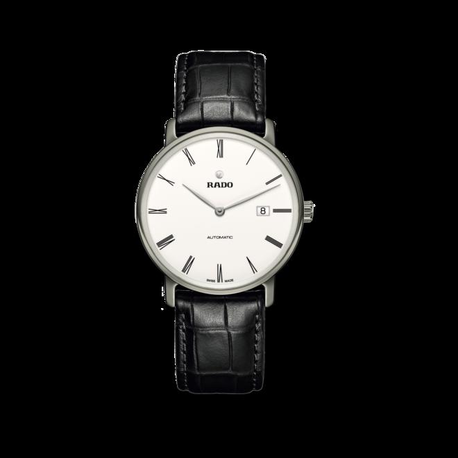 Herrenuhr Rado Ceramos Thinline Automatic mit weißem Zifferblatt und Armband aus Kalbsleder mit Krokodilprägung bei Brogle