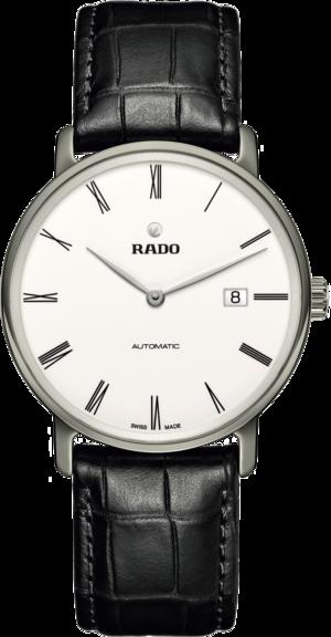Herrenuhr Rado Ceramos Thinline Automatic mit weißem Zifferblatt und Armband aus Kalbsleder mit Krokodilprägung