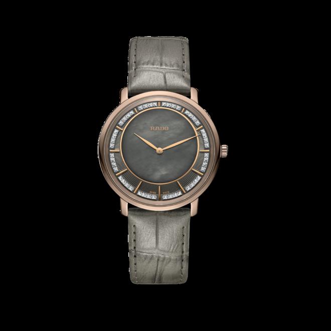 Herrenuhr Rado Ceramos Thinline Quartz mit Diamanten, braunem Zifferblatt und Armband aus Kalbsleder mit Krokodilprägung bei Brogle