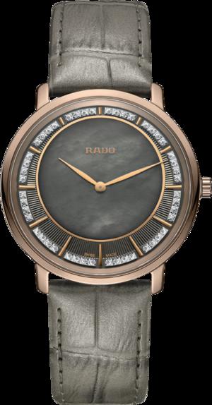 Herrenuhr Rado Ceramos Thinline Quartz mit Diamanten, braunem Zifferblatt und Armband aus Kalbsleder mit Krokodilprägung
