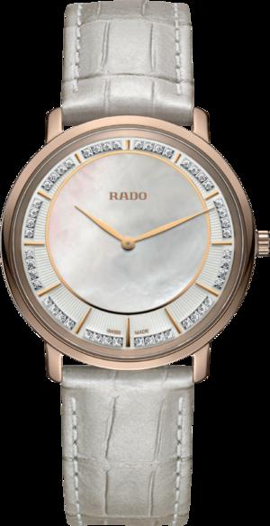 Damenuhr Rado Ceramos Thinline Quartz mit Diamanten, grauem Zifferblatt und Armband aus Kalbsleder mit Krokodilprägung