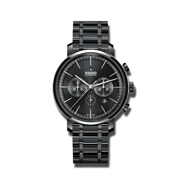 Herrenuhr Rado Diamaster Chronograph XXL Automatik mit schwarzem Zifferblatt und Keramikarmband