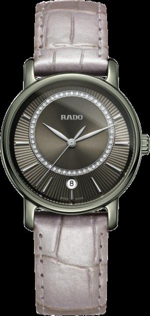 Damenuhr Rado DiaMaster Diamonds M Quarz mit Diamanten, silberfarbenem Zifferblatt und Armband aus Kalbsleder mit Krokodilprägung