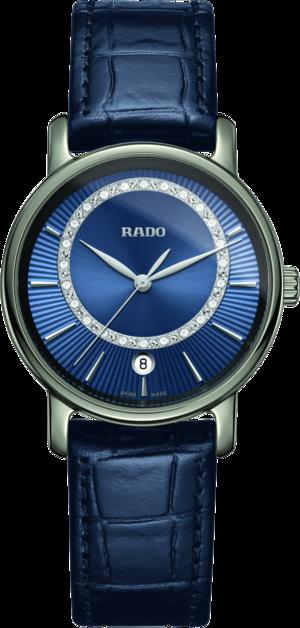 Damenuhr Rado DiaMaster Diamonds M Quarz mit Diamanten, blauem Zifferblatt und Armband aus Kalbsleder mit Krokodilprägung