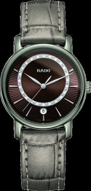 Damenuhr Rado DiaMaster Diamonds M Quarz mit Diamanten, braunem Zifferblatt und Armband aus Kalbsleder mit Krokodilprägung