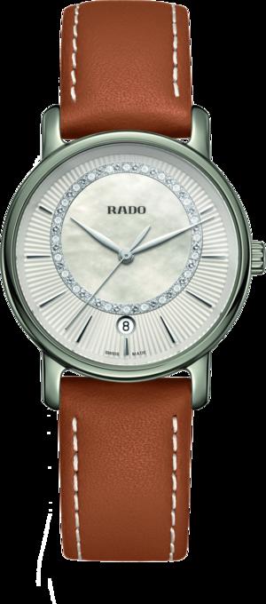 Damenuhr Rado DiaMaster Diamonds M Quarz mit Diamanten, perlmuttfarbenem Zifferblatt und Kalbsleder-Armband