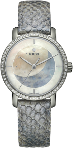 Damenuhr Rado Ploychan Automatic Limited Edition mit Diamanten, weißem Zifferblatt und Kalbsleder-Armband