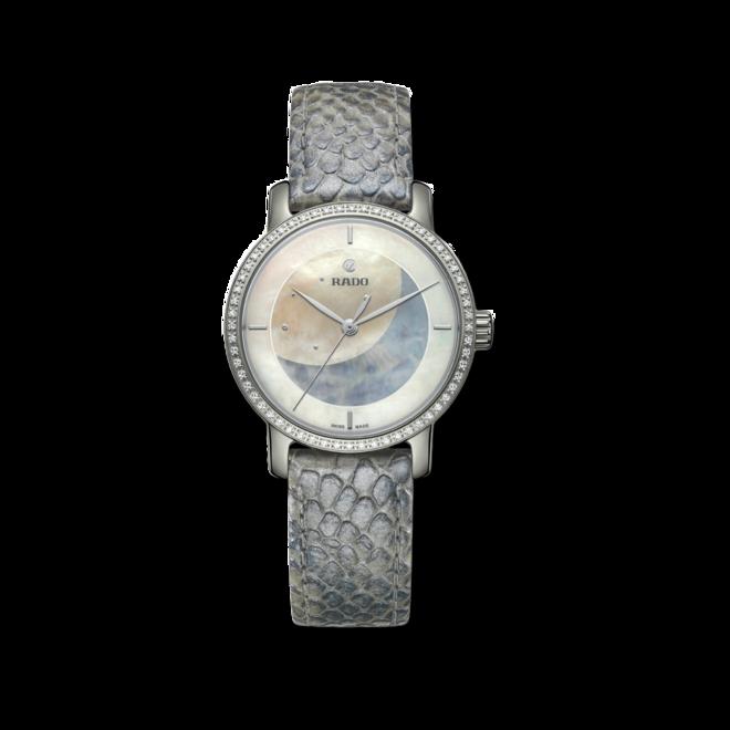 Damenuhr Rado Ploychan Automatic Limited Edition mit Diamanten, weißem Zifferblatt und Kalbsleder-Armband bei Brogle
