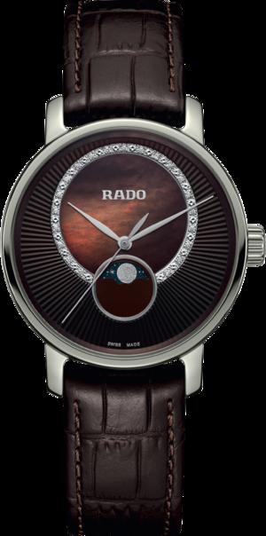 Damenuhr Rado DiaMaster Quarz 35mm mit Diamanten, braunem Zifferblatt und Armband aus Kalbsleder mit Krokodilprägung
