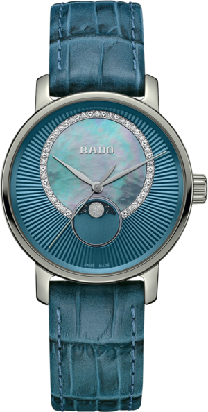Damenuhr Rado DiaMaster Quarz 35mm mit Diamanten, blauem Zifferblatt und Armband aus Kalbsleder mit Krokodilprägung