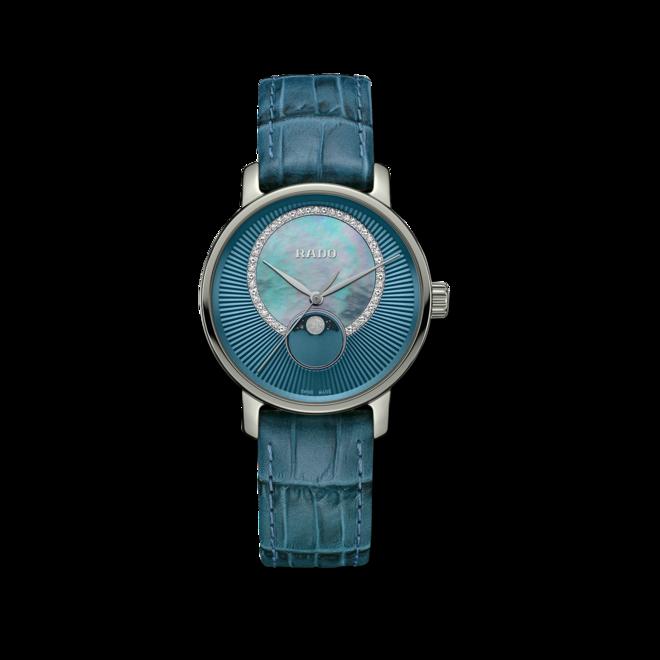 Damenuhr Rado DiaMaster Quarz 35mm mit Diamanten, blauem Zifferblatt und Armband aus Kalbsleder mit Krokodilprägung bei Brogle