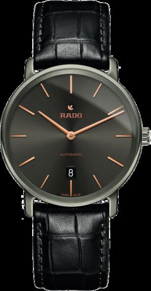 Herrenuhr Rado DiaMaster XL Ceramos mit grauem Zifferblatt und Armband aus Kalbsleder mit Krokodilprägung