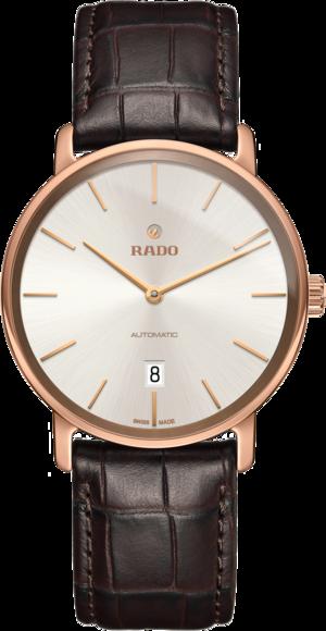 Herrenuhr Rado DiaMaster XL Ceramos mit silberfarbenem Zifferblatt und Armband aus Kalbsleder mit Krokodilprägung
