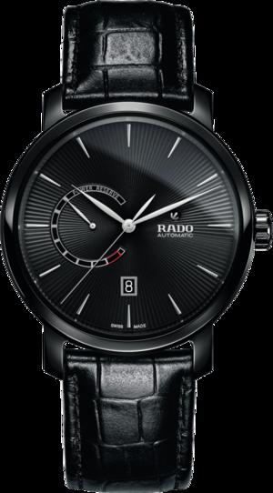 Herrenuhr Rado DiaMaster XL Power Reserve Automatik mit schwarzem Zifferblatt und Armband aus Kalbsleder mit Krokodilprägung