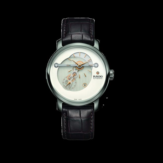 Herrenuhr Rado DiaMaster XL mit Diamanten, weißem Zifferblatt und Armband aus Kalbsleder mit Krokodilprägung bei Brogle