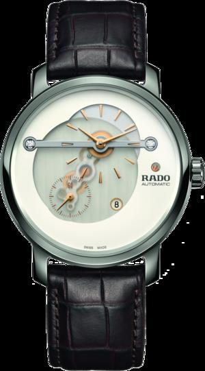 Herrenuhr Rado DiaMaster XL mit Diamanten, weißem Zifferblatt und Armband aus Kalbsleder mit Krokodilprägung