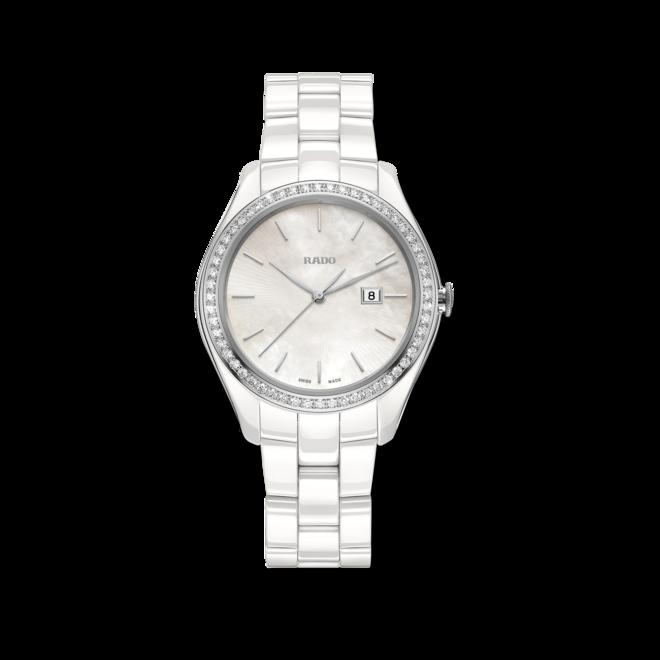 Damenuhr Rado HyperChrome Ash Barty, Limited Edition mit Diamanten, perlmuttfarbenem Zifferblatt und Plasma-Keramikarmband bei Brogle
