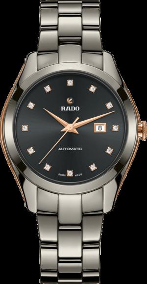 Damenuhr Rado HyperChrome Automatik 1314 36mm mit Diamanten, grauem Zifferblatt und Armband aus Keramik mit Ceramos