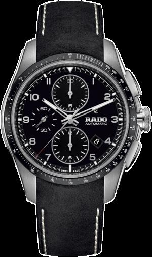 Herrenuhr Rado HyperChrome Automatik Chronograph 44mm mit schwarzem Zifferblatt und Kalbsleder-Armband