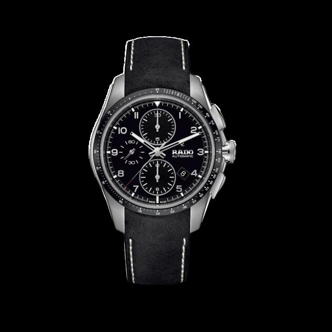 Herrenuhr Rado HyperChrome Automatik Chronograph 44mm mit schwarzem Zifferblatt und Kalbsleder-Armband bei Brogle