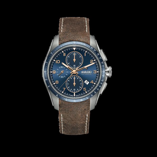 Herrenuhr Rado HyperChrome Automatik Chronograph 44mm mit blauem Zifferblatt und Kalbsleder-Armband bei Brogle