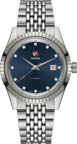 Herrenuhr Rado HyperChrome Classic Automatic Diamonds mit Diamanten, blauem Zifferblatt und Edelstahlarmband