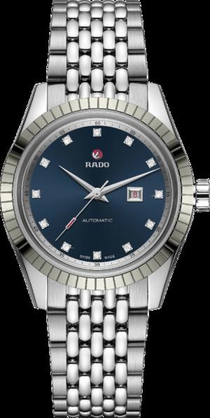 Damenuhr Rado HyperChrome Classic Automatic Diamonds mit Diamanten, blauem Zifferblatt und Edelstahlarmband