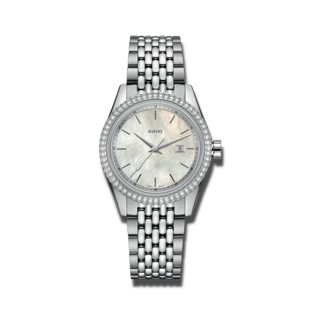 Damenuhr Rado HyperChrome Classic Diamonds 35mm mit Diamanten, perlmuttfarbenem Zifferblatt und Edelstahlarmband bei Brogle