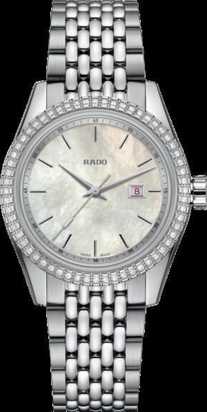 Damenuhr Rado HyperChrome Classic Diamonds 35mm mit Diamanten, perlmuttfarbenem Zifferblatt und Edelstahlarmband